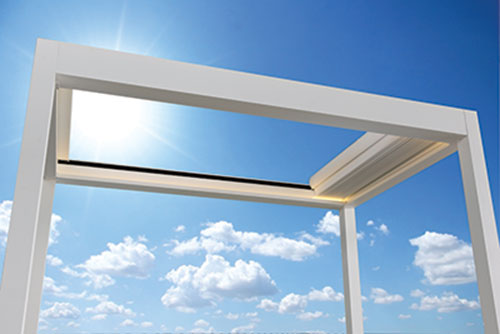Retractable Vergola Roof - Open Air - Click and Drag the arrows